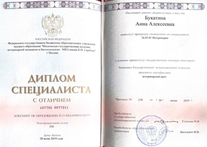 Ветеринар Букатина Анна Алексеевна
